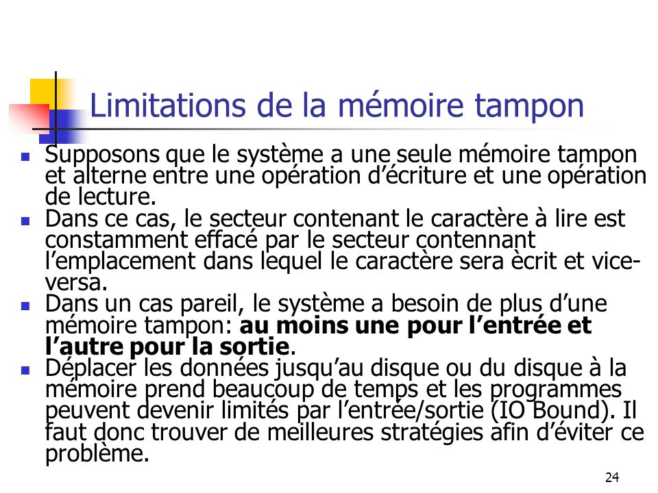Limitations de la mémoire tampon