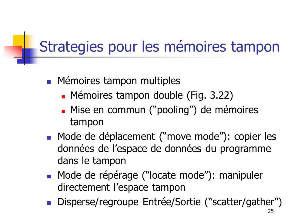 Strategies pour les mémoires tampon