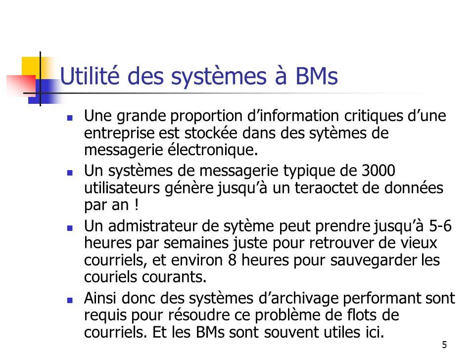 Utilité des systèmes à BMs
