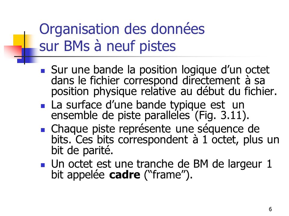 Organisation des données sur BMs à neuf pistes