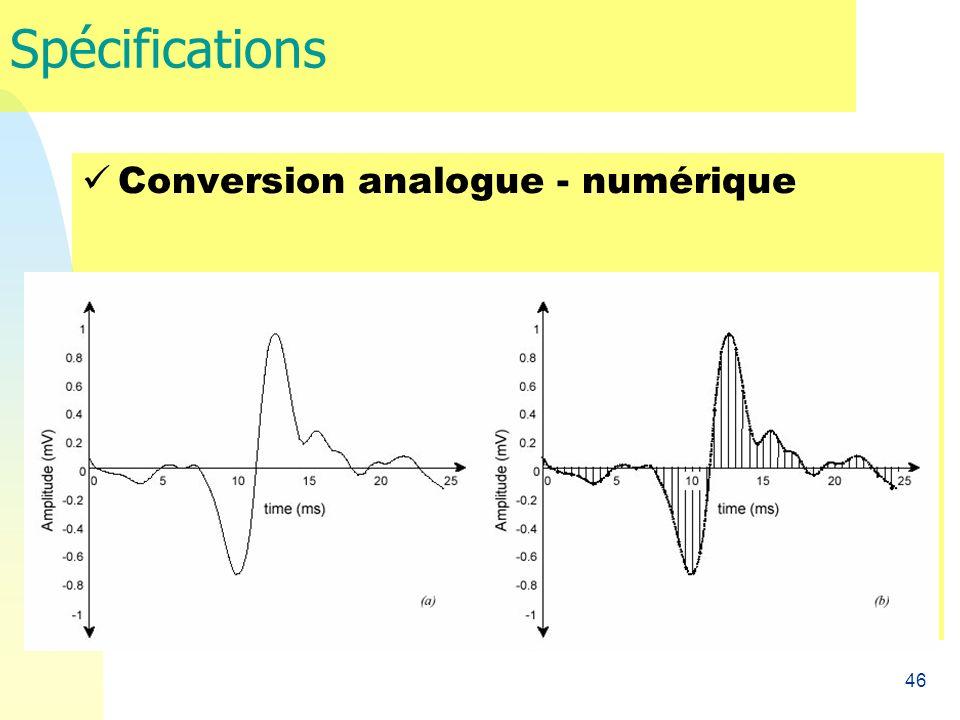 Spécifications Conversion analogue - numérique