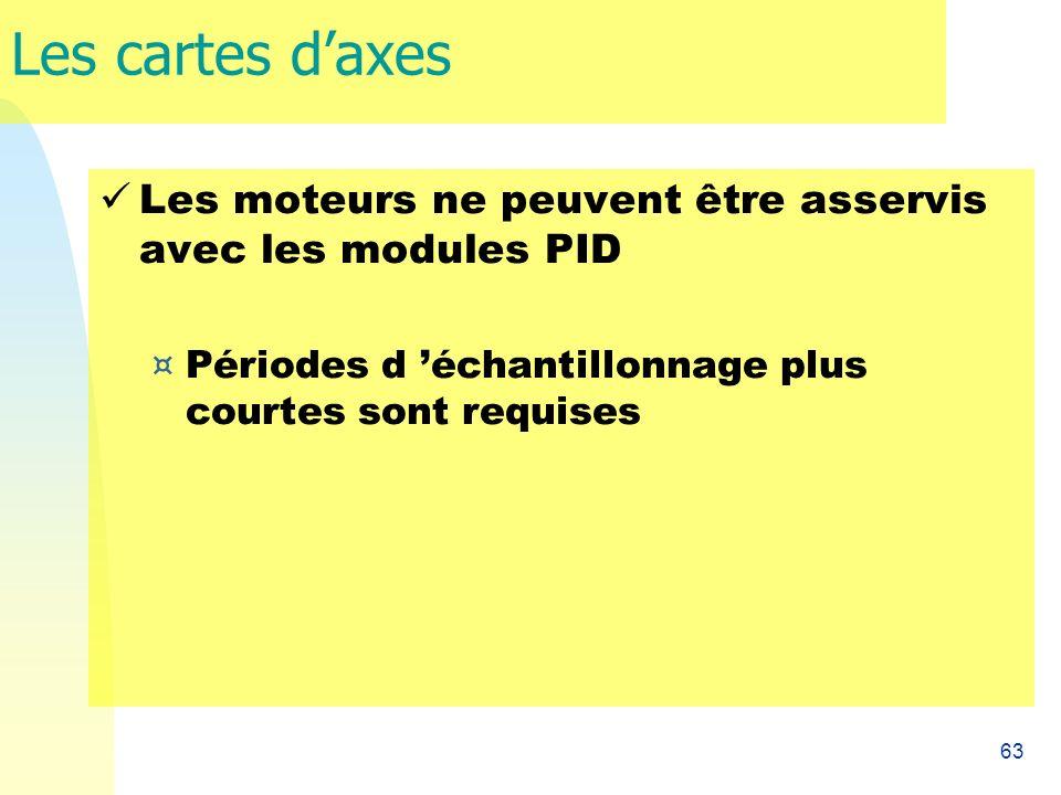 Les cartes d'axes Les moteurs ne peuvent être asservis avec les modules PID.