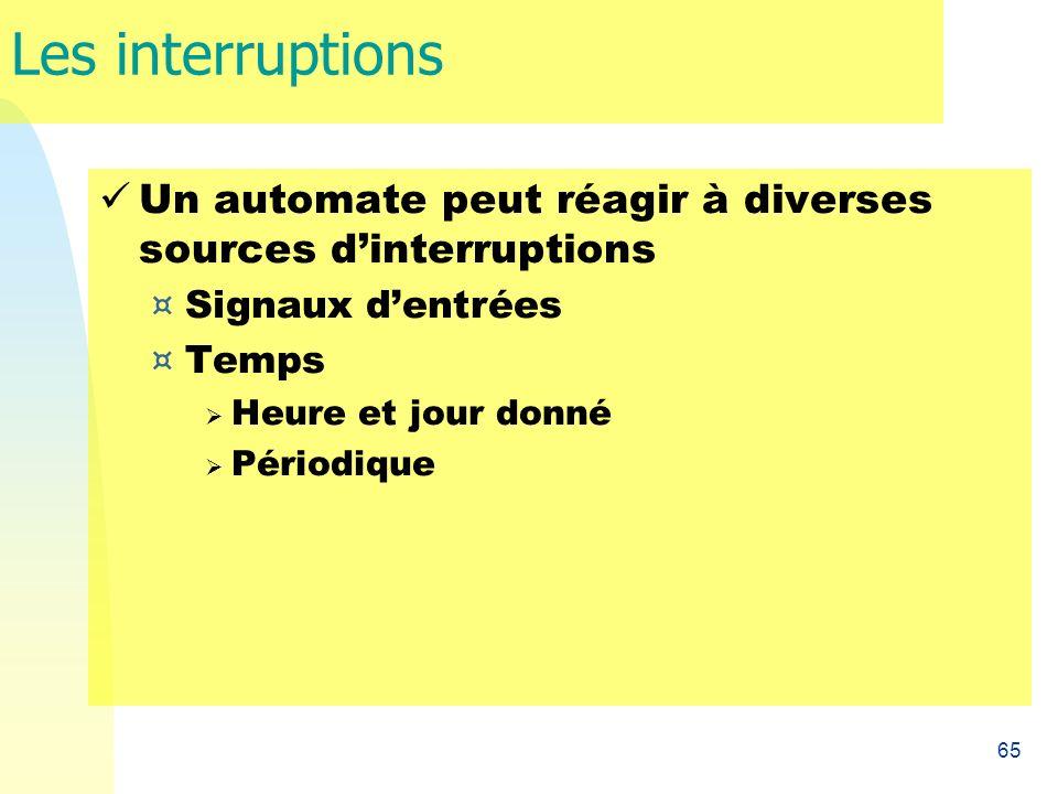 Les interruptions Un automate peut réagir à diverses sources d'interruptions. Signaux d'entrées. Temps.