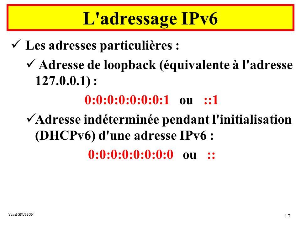L adressage IPv6 Les adresses particulières :