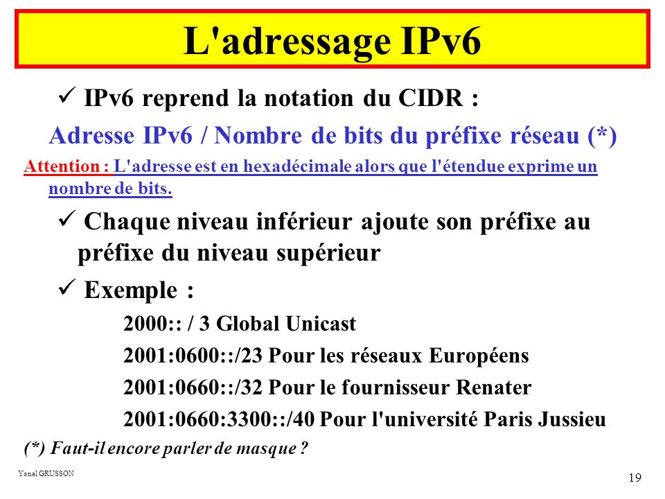 Adresse IPv6 / Nombre de bits du préfixe réseau (*)