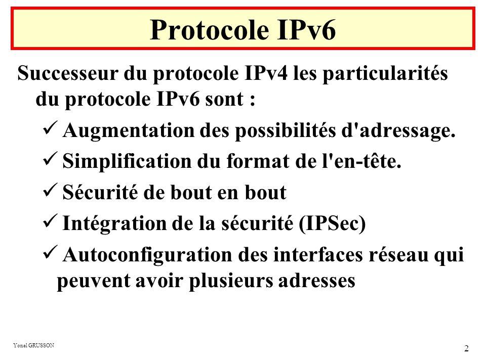 Protocole IPv6 Successeur du protocole IPv4 les particularités du protocole IPv6 sont : Augmentation des possibilités d adressage.
