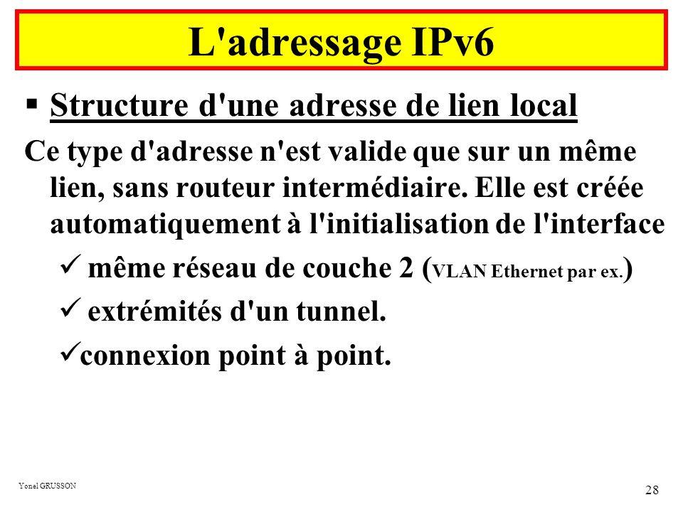L adressage IPv6 Structure d une adresse de lien local