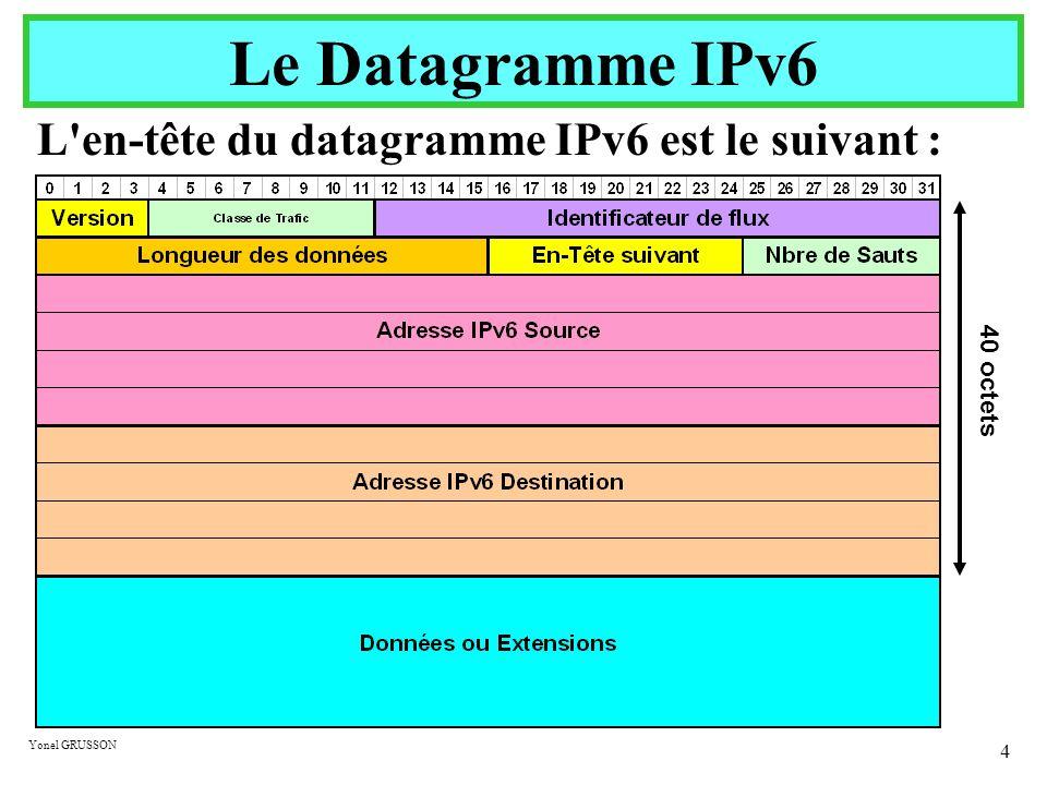 Le Datagramme IPv6 L en-tête du datagramme IPv6 est le suivant :