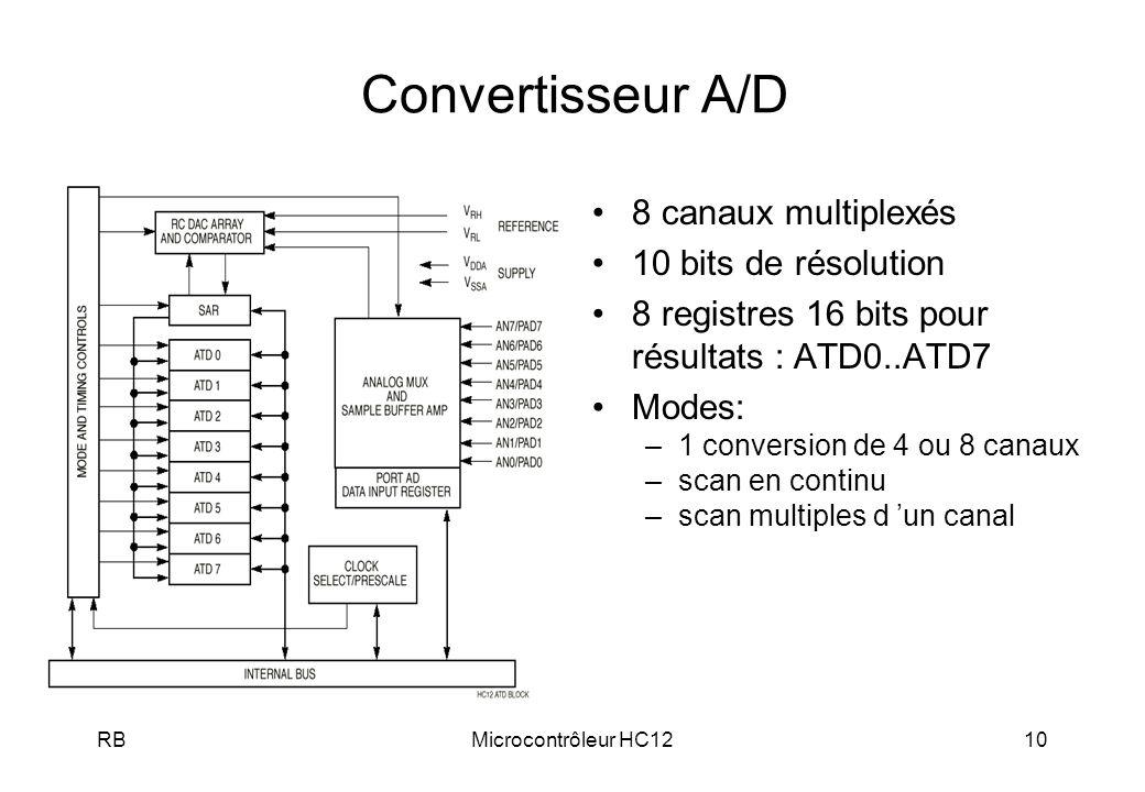 Convertisseur A/D 8 canaux multiplexés 10 bits de résolution