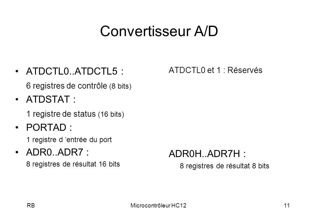Convertisseur A/D ATDCTL0..ATDCTL5 : 6 registres de contrôle (8 bits)
