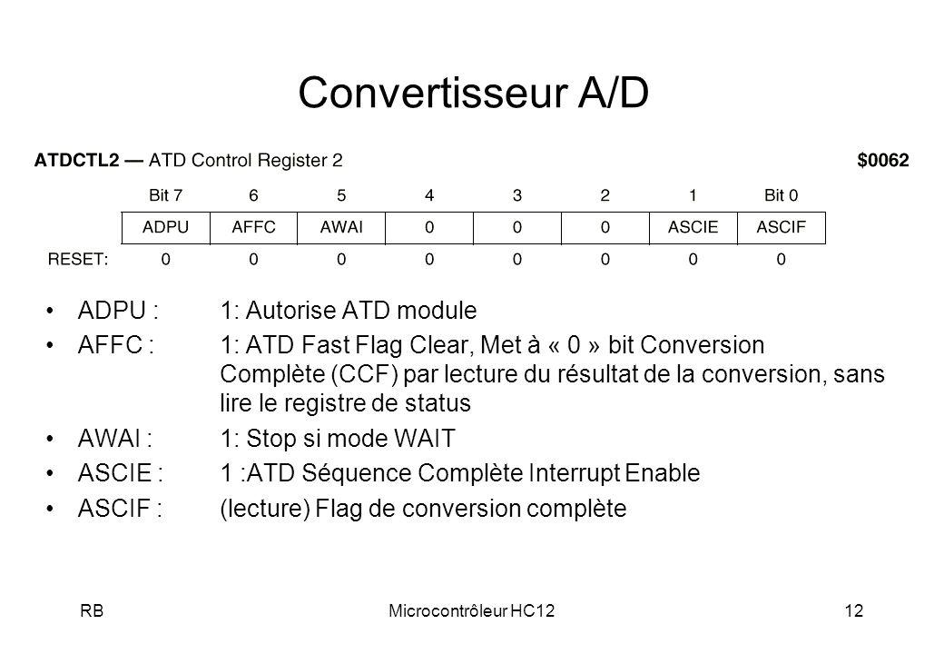 Convertisseur A/D ADPU : 1: Autorise ATD module