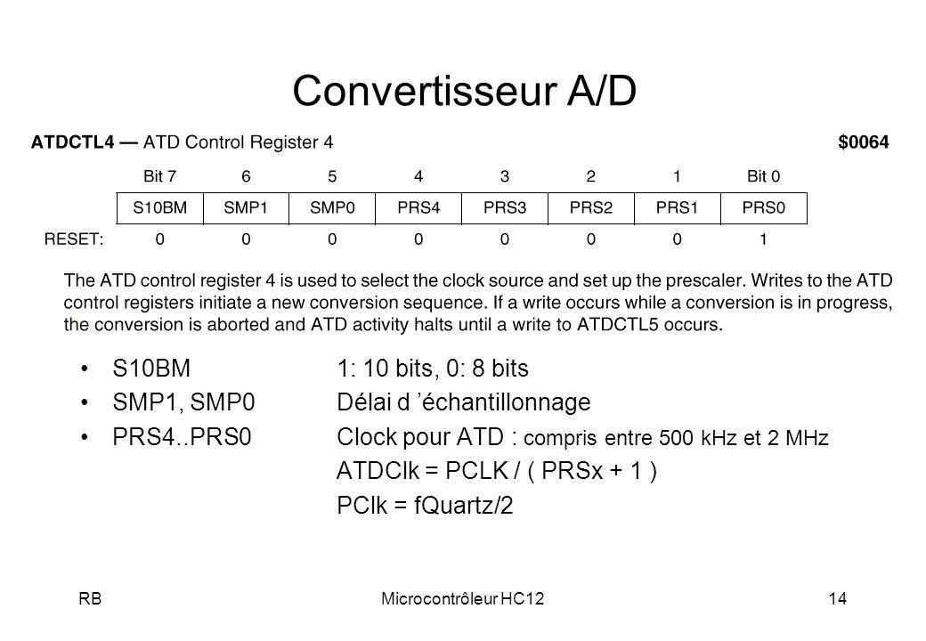 Convertisseur A/D S10BM 1: 10 bits, 0: 8 bits