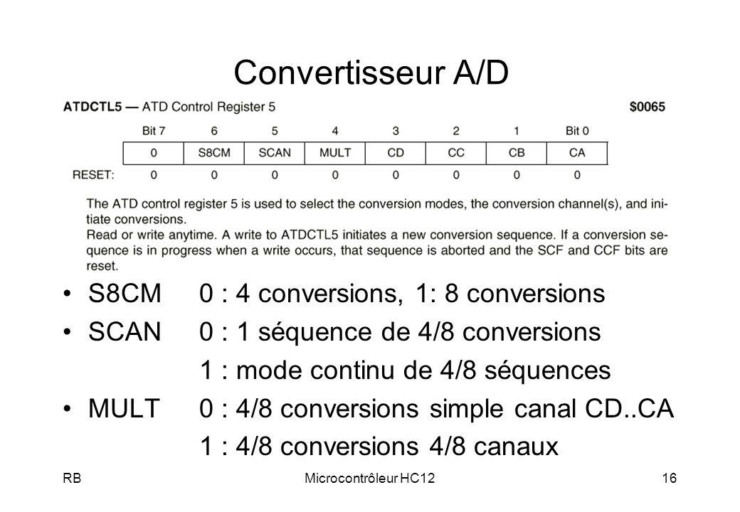 Convertisseur A/D S8CM 0 : 4 conversions, 1: 8 conversions