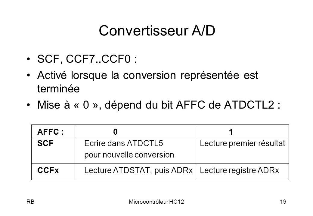 Convertisseur A/D SCF, CCF7..CCF0 :