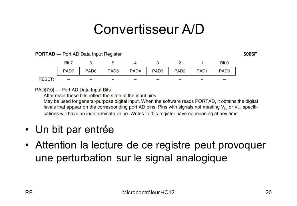 Convertisseur A/D Un bit par entrée