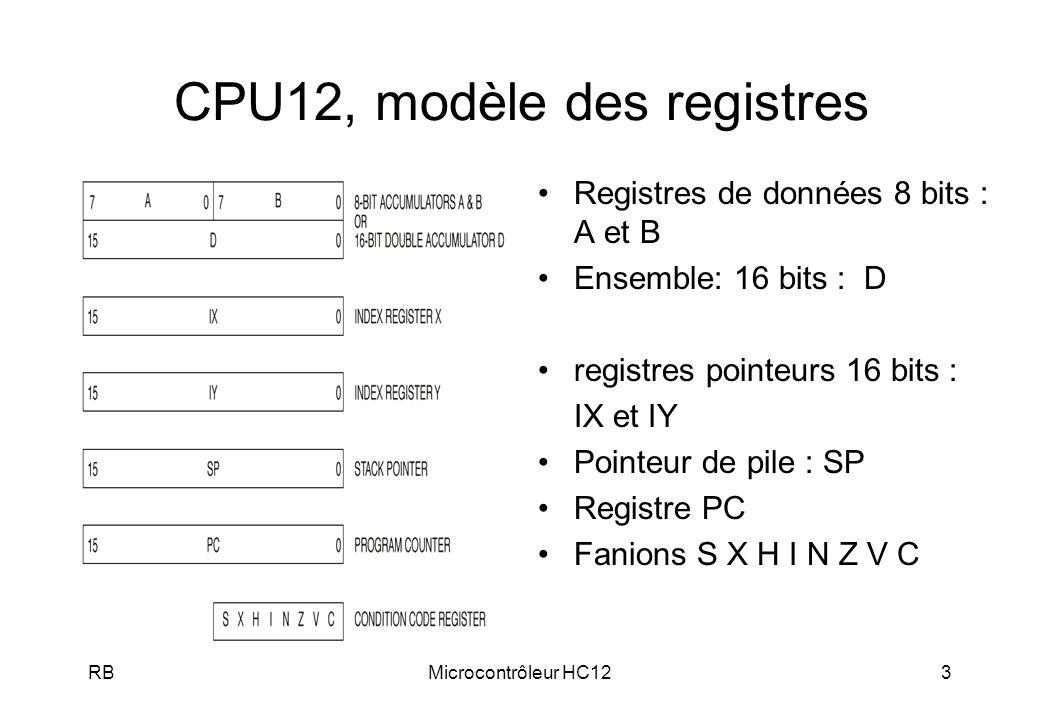 CPU12, modèle des registres