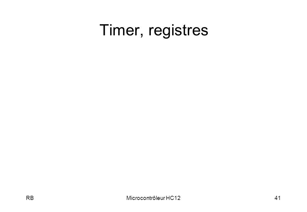 Timer, registres RB Microcontrôleur HC12