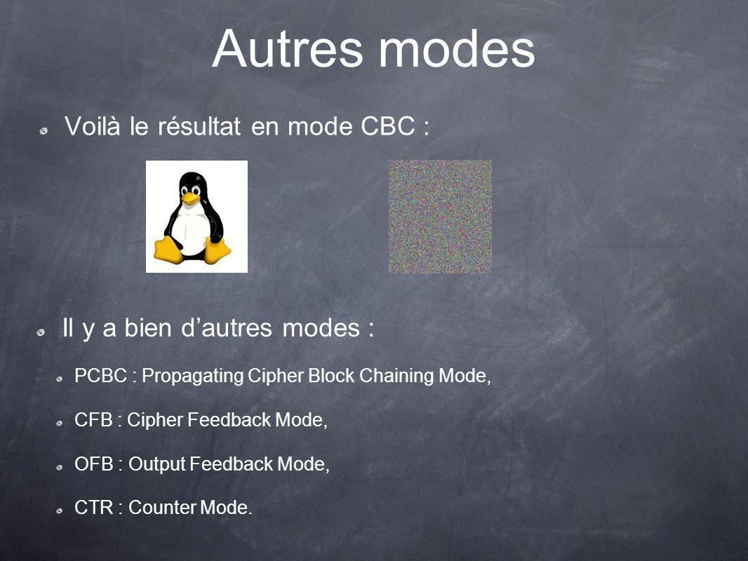 Autres modes Voilà le résultat en mode CBC :