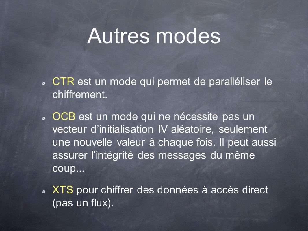 Autres modes CTR est un mode qui permet de paralléliser le chiffrement.