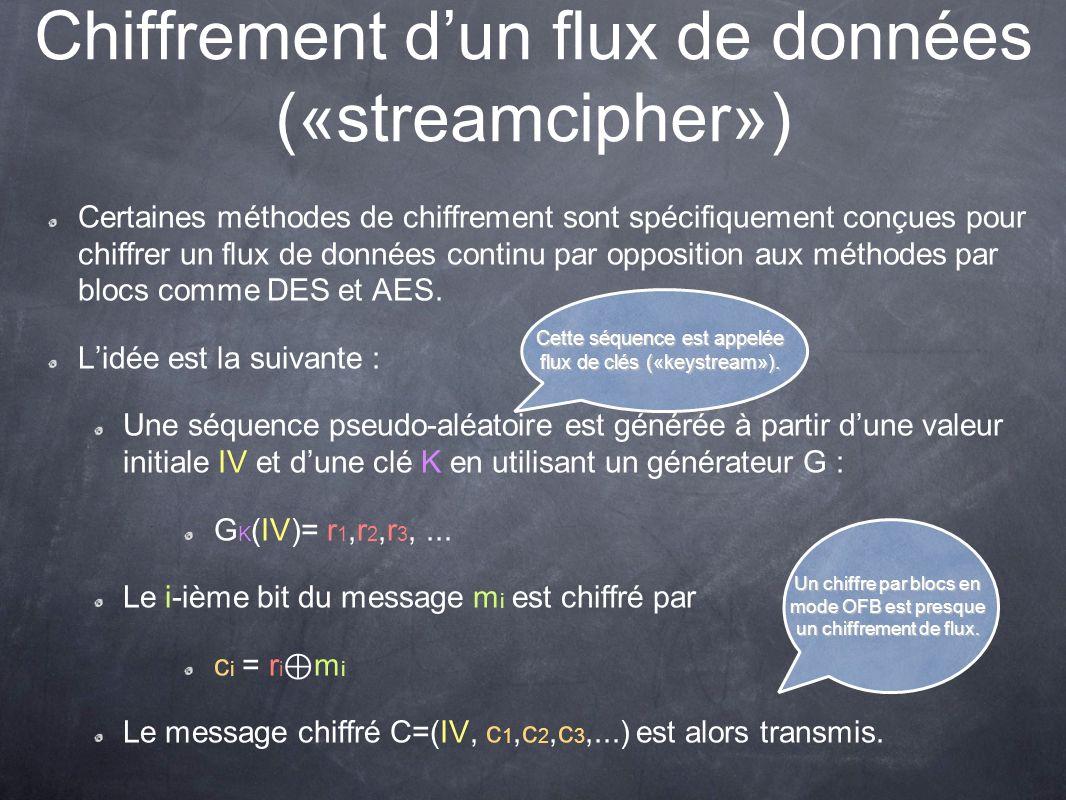 Chiffrement d'un flux de données («streamcipher»)