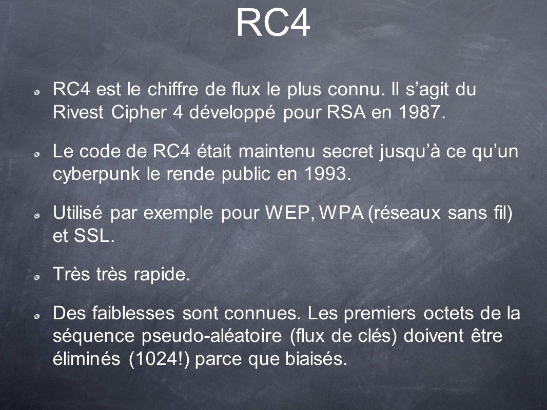 RC4 RC4 est le chiffre de flux le plus connu. Il s'agit du Rivest Cipher 4 développé pour RSA en 1987.