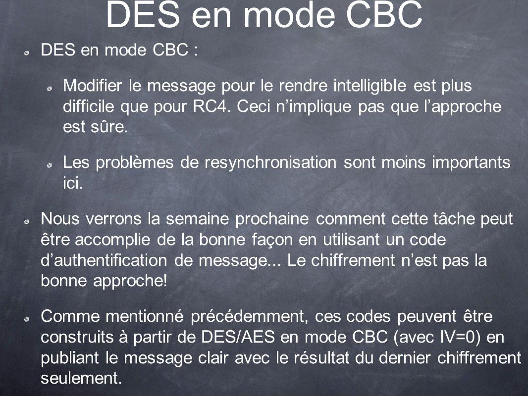 DES en mode CBC DES en mode CBC :