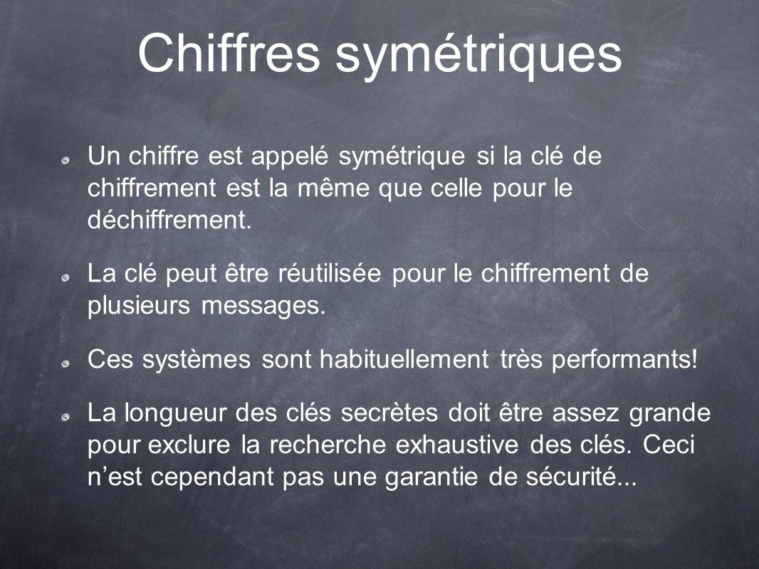 Chiffres symétriques Un chiffre est appelé symétrique si la clé de chiffrement est la même que celle pour le déchiffrement.