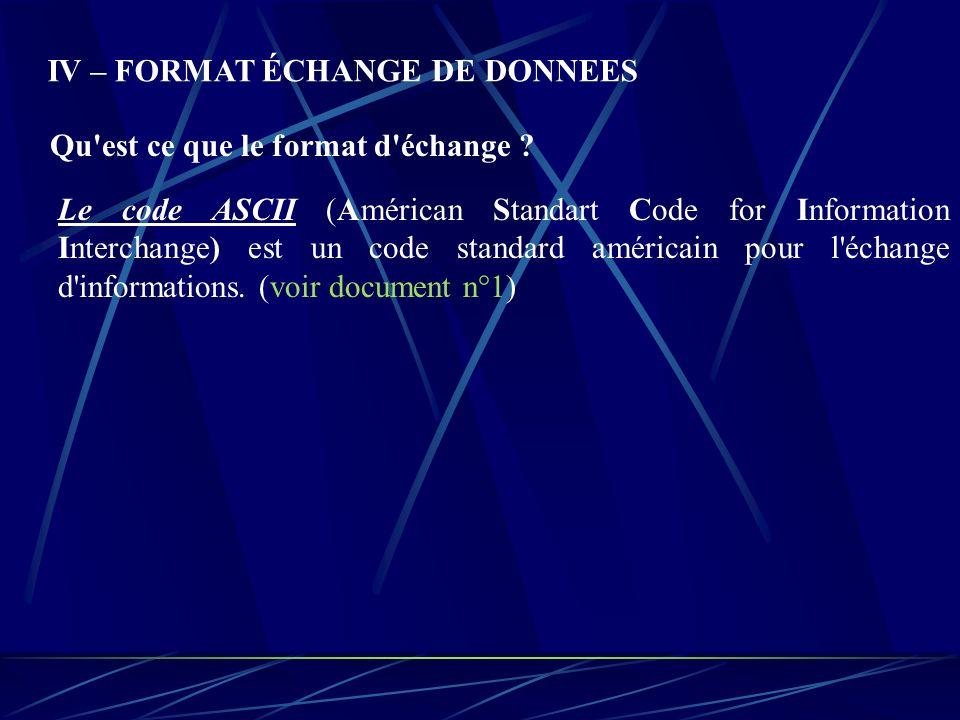 IV – FORMAT ÉCHANGE DE DONNEES