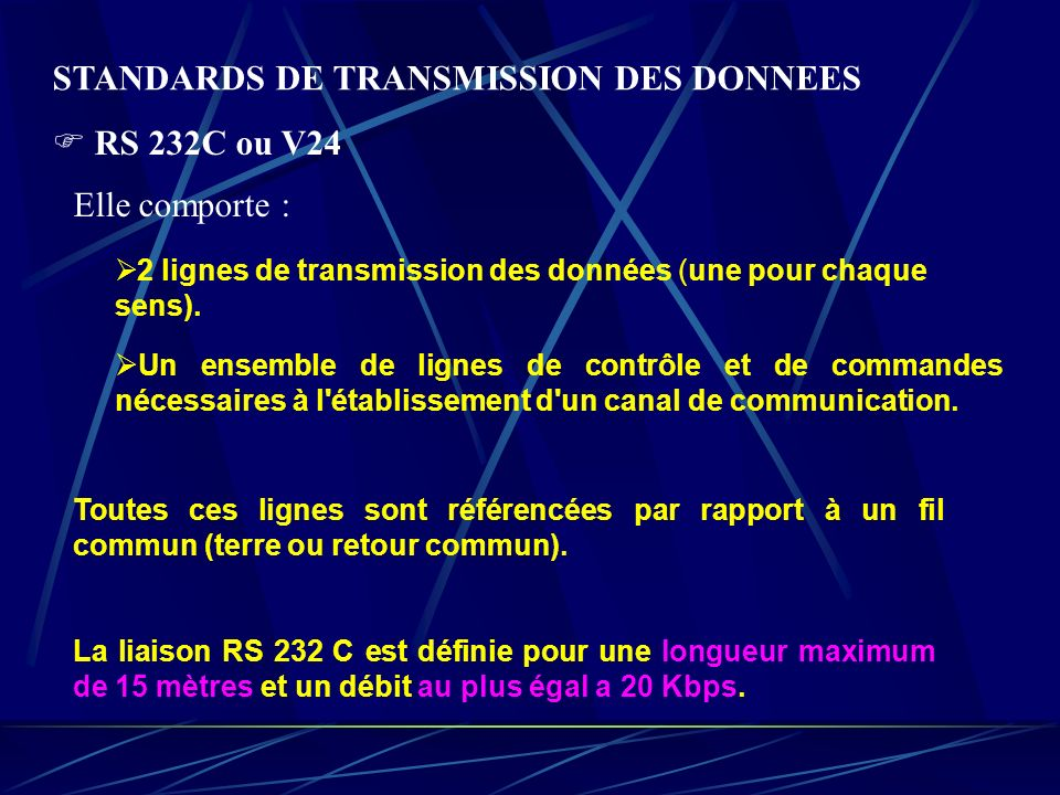 STANDARDS DE TRANSMISSION DES DONNEES