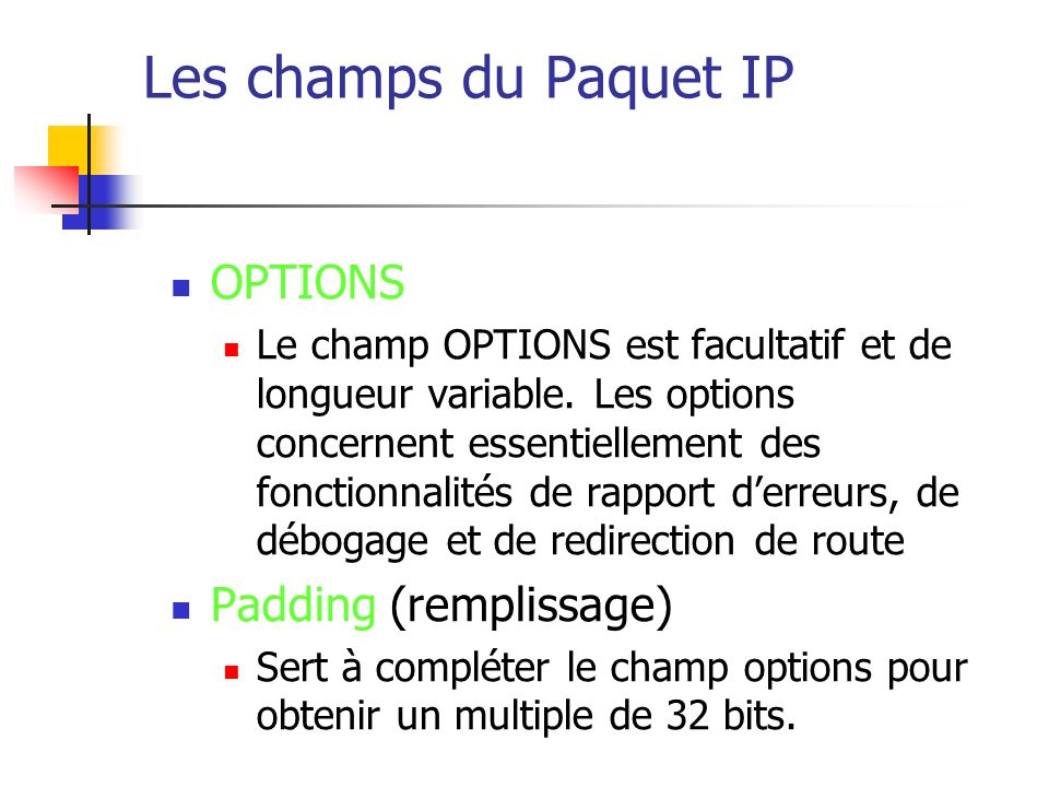 Les champs du Paquet IP OPTIONS Padding (remplissage)