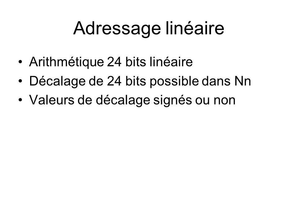 Adressage linéaire Arithmétique 24 bits linéaire
