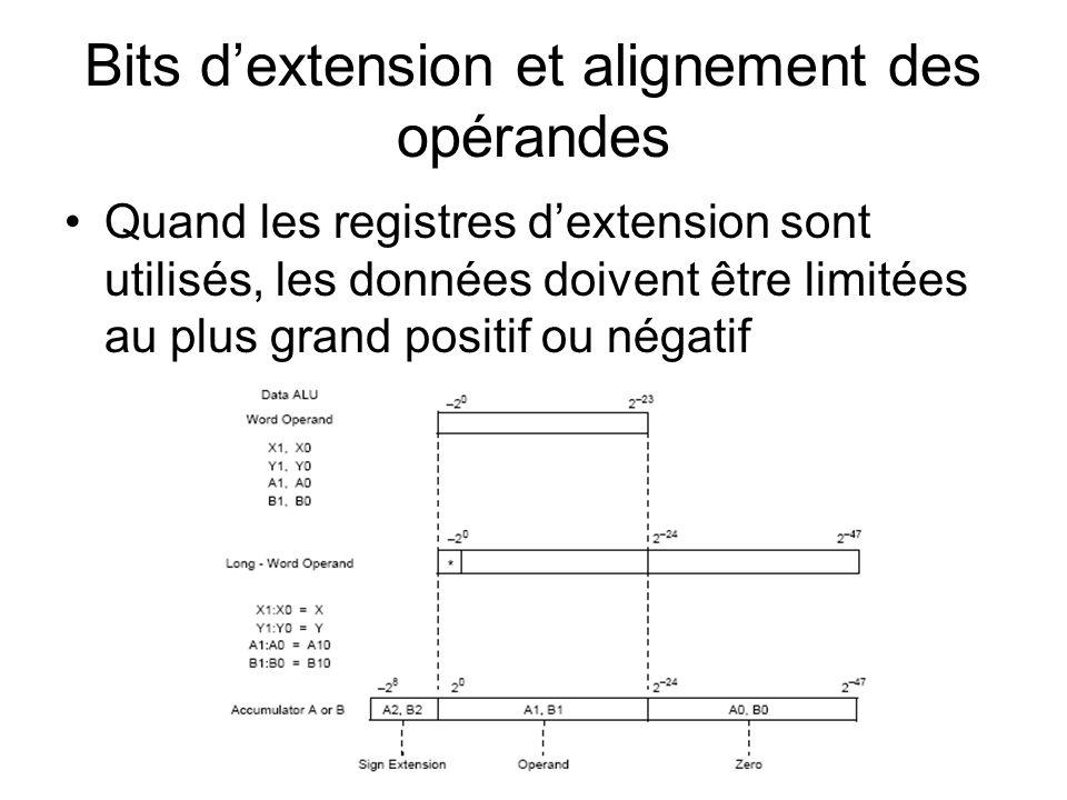 Bits d'extension et alignement des opérandes