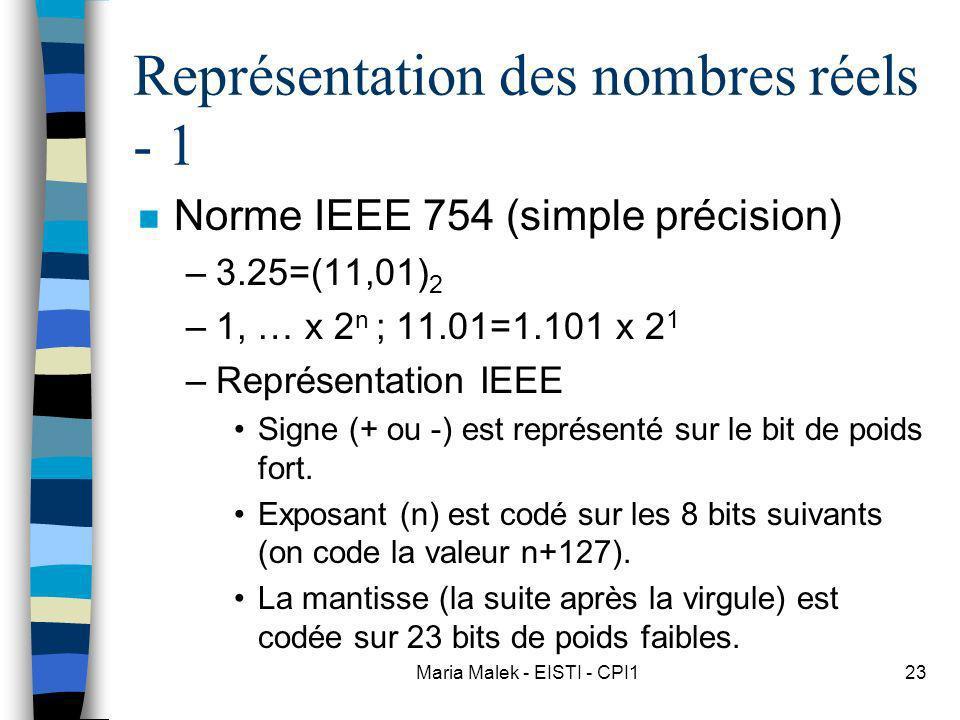 Représentation des nombres réels - 1