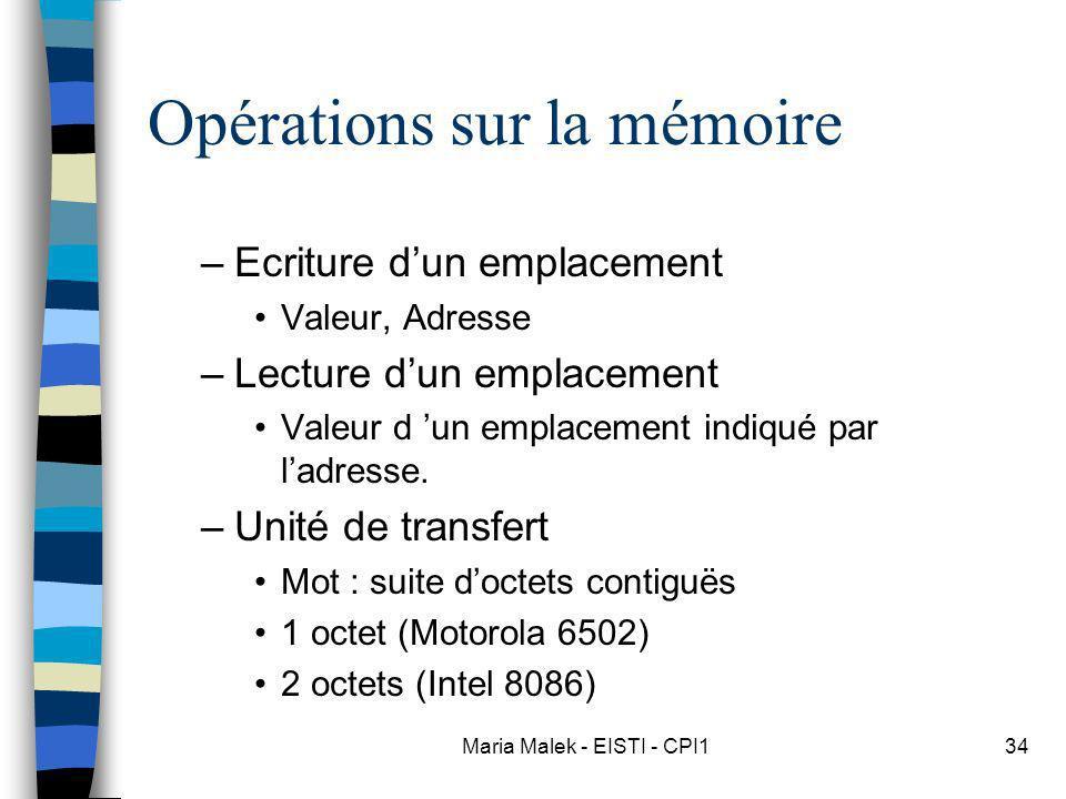 Opérations sur la mémoire
