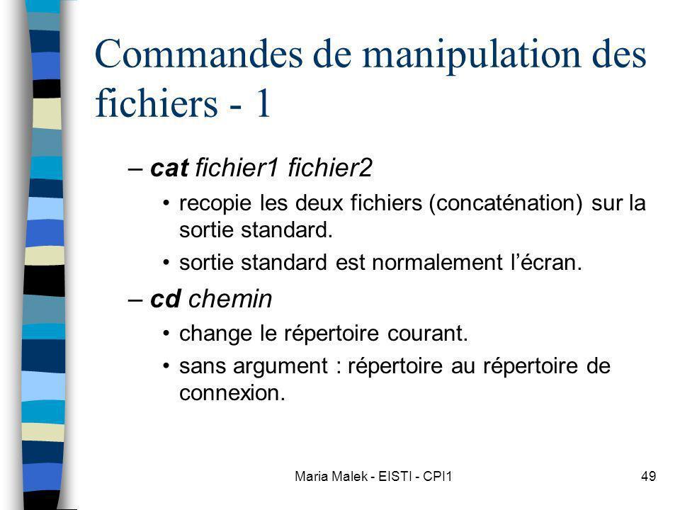 Commandes de manipulation des fichiers - 1