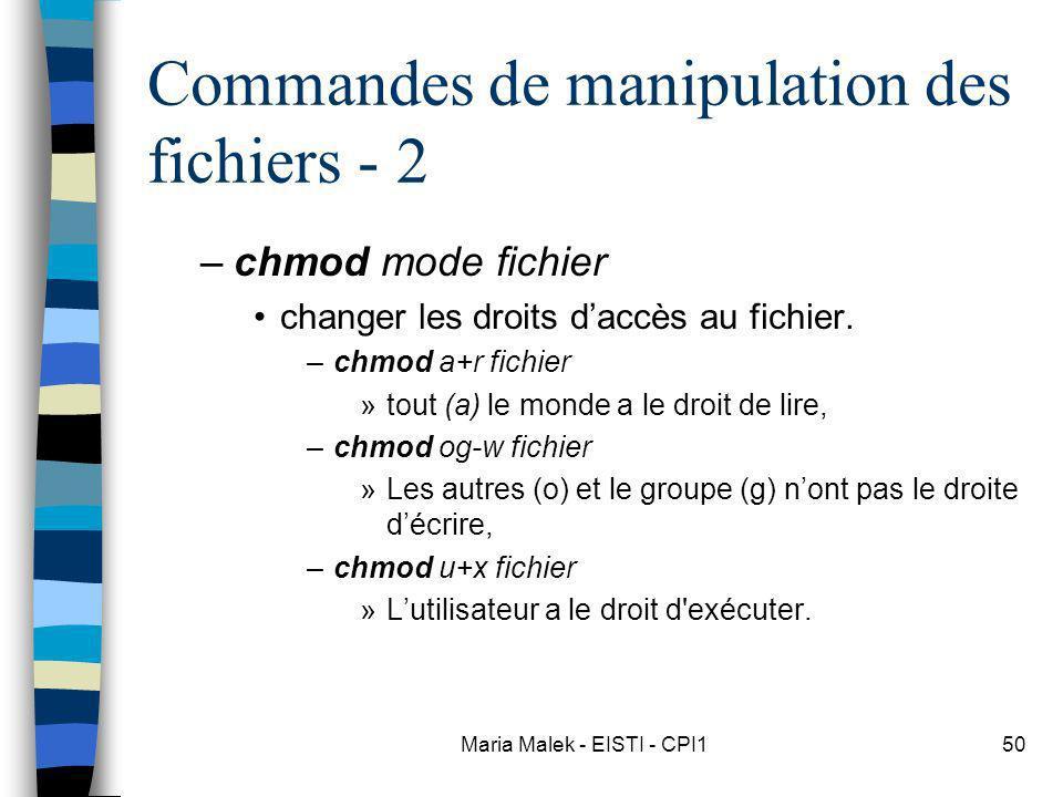 Commandes de manipulation des fichiers - 2