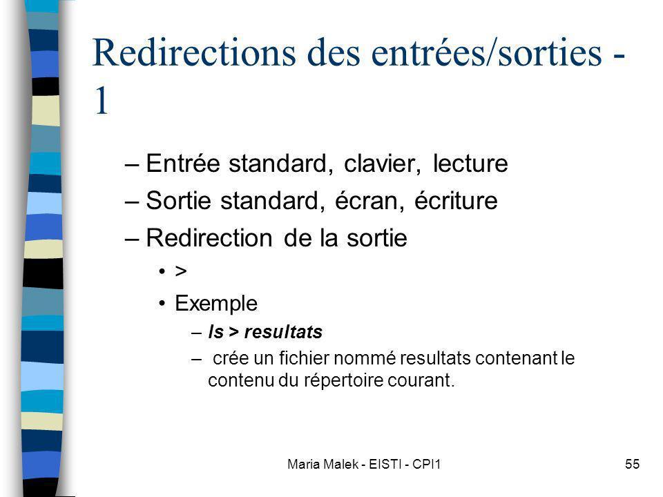 Redirections des entrées/sorties - 1