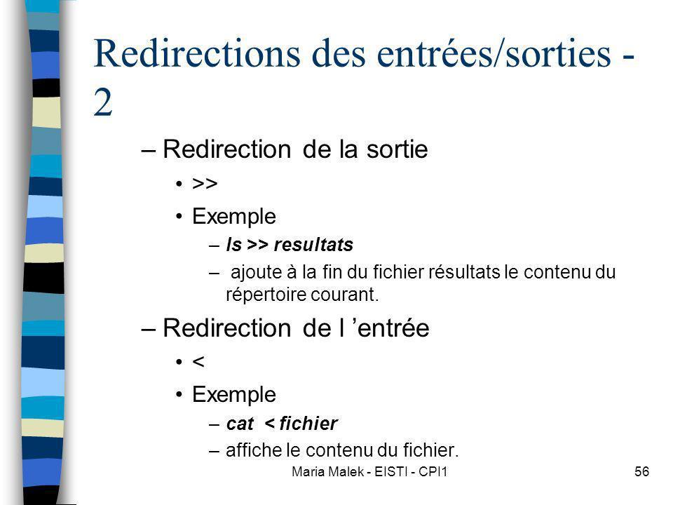 Redirections des entrées/sorties - 2
