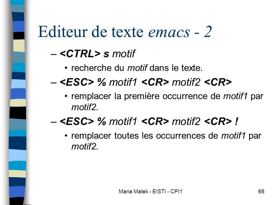 Editeur de texte emacs - 2