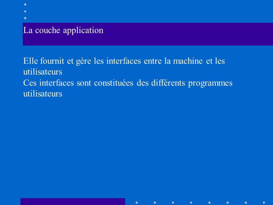 La couche application Elle fournit et gère les interfaces entre la machine et les utilisateurs.