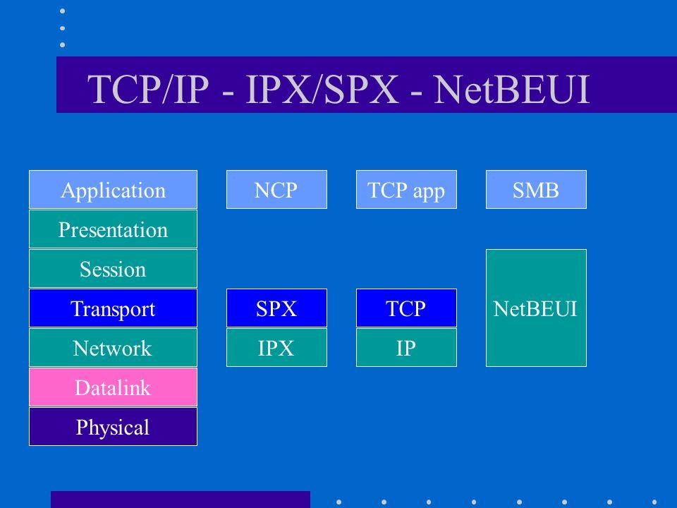 TCP/IP - IPX/SPX - NetBEUI