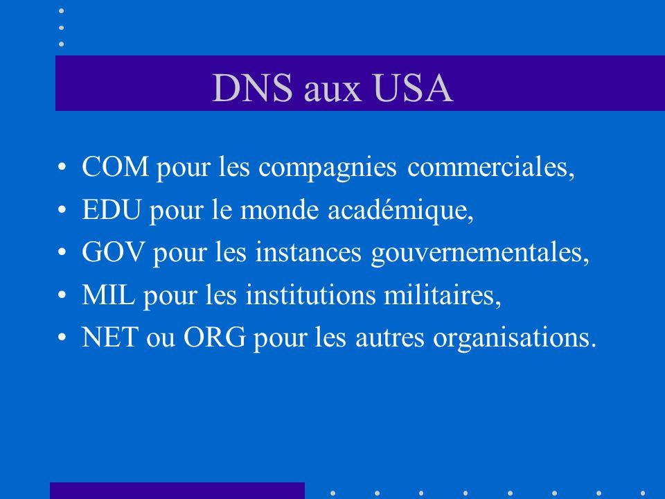 DNS aux USA COM pour les compagnies commerciales,