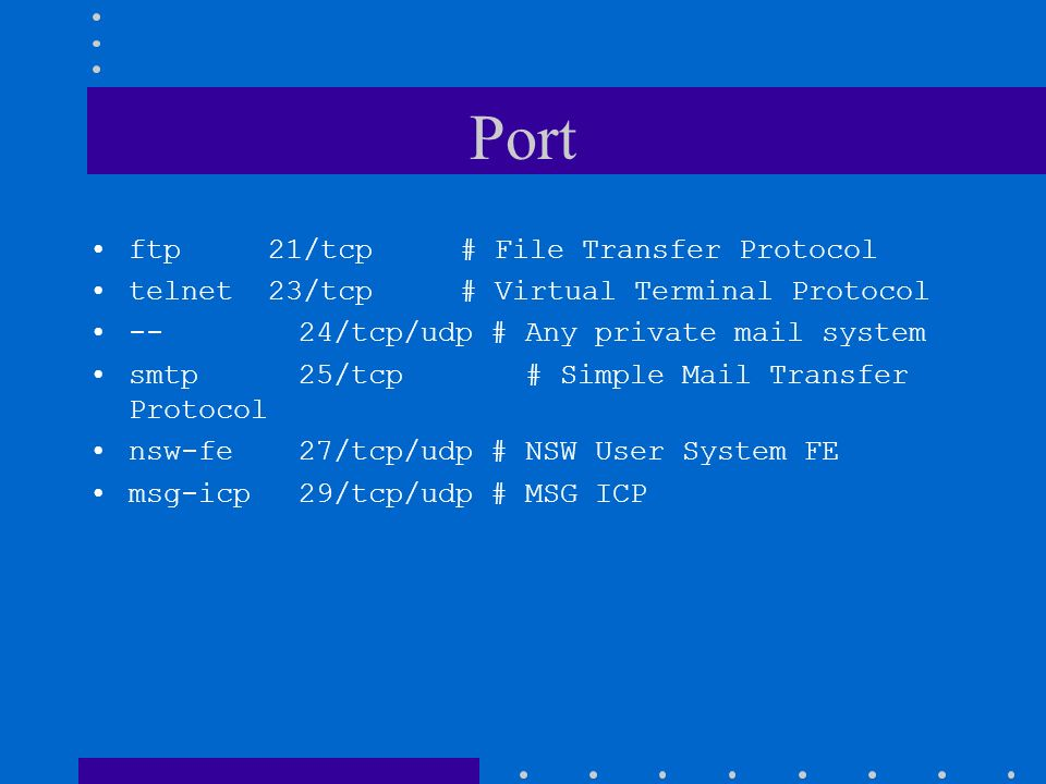 Port ftp 21/tcp # File Transfer Protocol