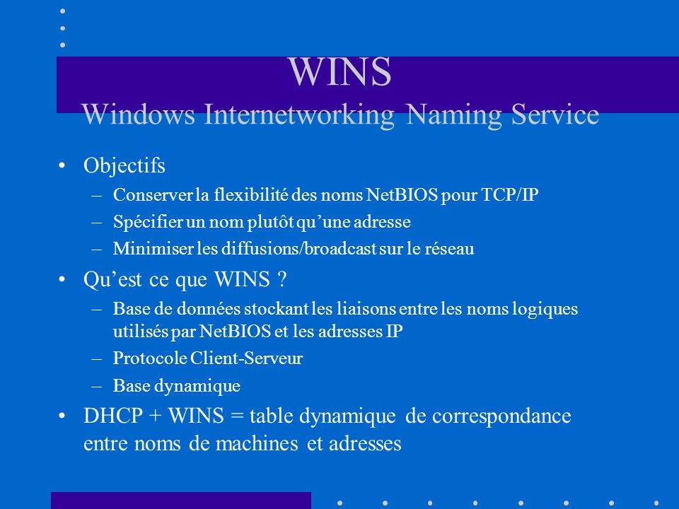WINS Windows Internetworking Naming Service