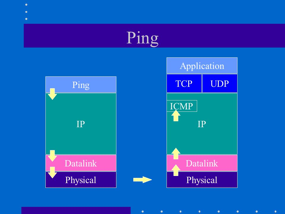 Ping Application TCP UDP Ping IP IP ICMP Datalink Datalink Physical