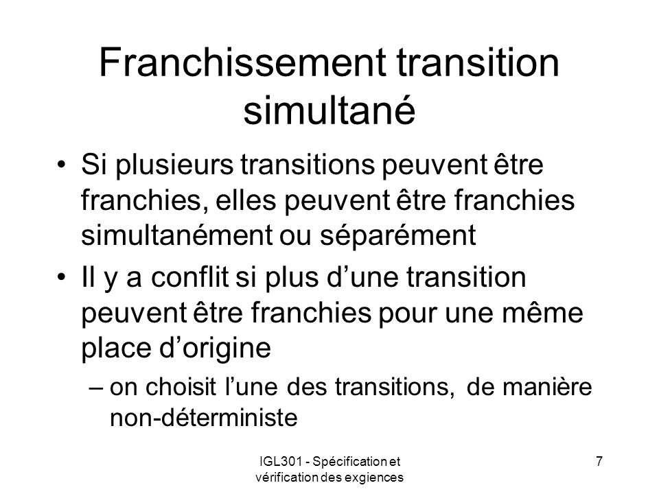 Franchissement transition simultané