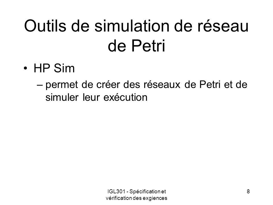 Outils de simulation de réseau de Petri