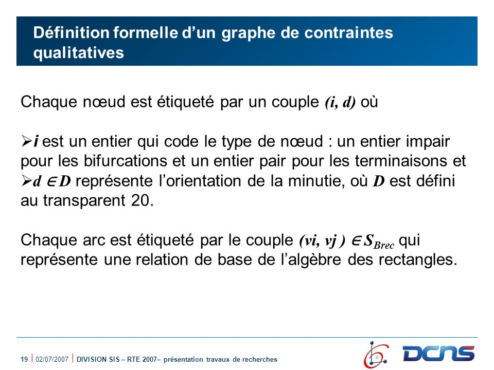 Définition formelle d'un graphe de contraintes qualitatives