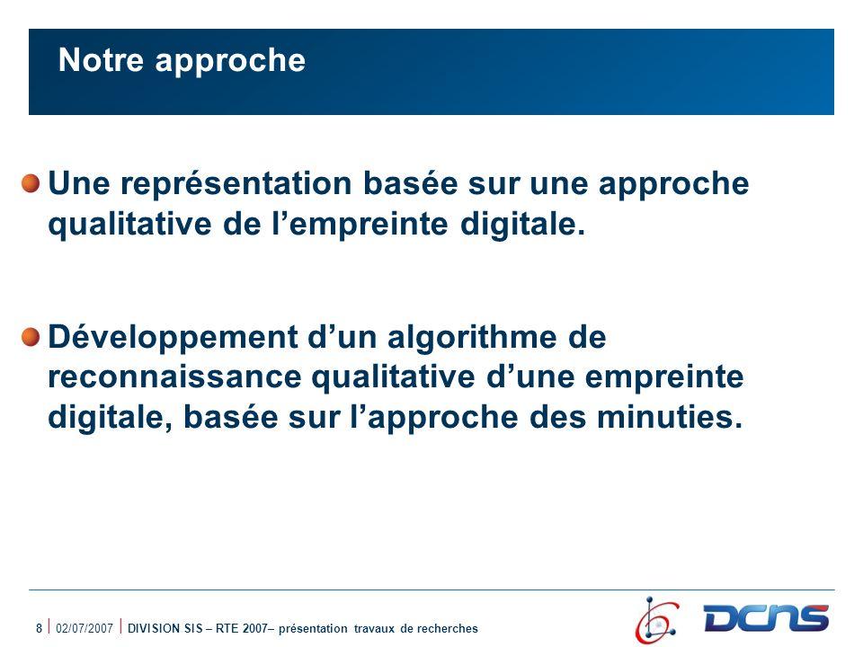 Notre approche Une représentation basée sur une approche qualitative de l'empreinte digitale.