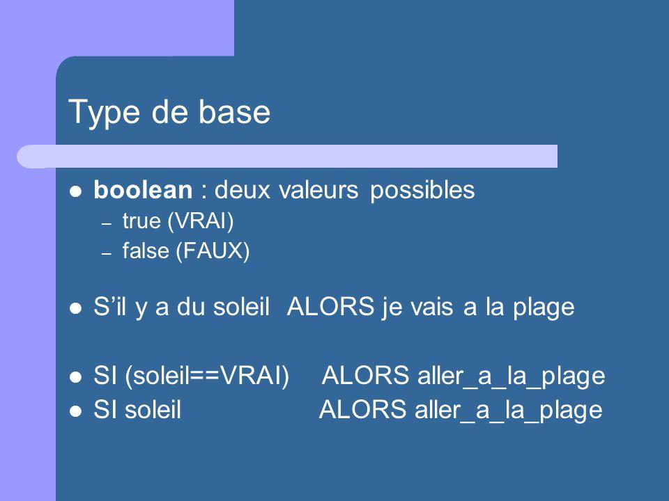 Type de base boolean : deux valeurs possibles